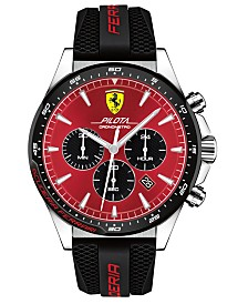 Ferrari Men's Chronograph Pilota Black Rubber Strap Watch 45mm