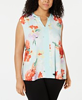 ed85961116 Calvin Klein Plus Size Floral-Print Chain-Embellished Top