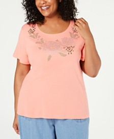 Karen Scott Plus Size Embellished T-Shirt, Created for Macy's