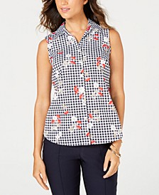 Sleeveless Floral Gingham Blouse, Created for Macy's