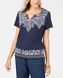 Petite Bandana Dazzle Top, Created for Macy's