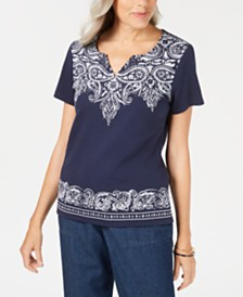 Karen Scott Petite Bandana Dazzle Top, Created for Macy's