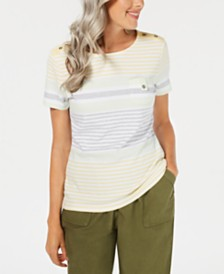 Karen Scott Petite Danielle Striped Scoop-Neck Top, Created for Macy's