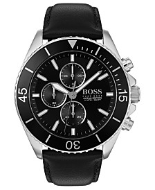 BOSS Men's Chronograph Ocean Edition Black Leather Strap Watch 46mm