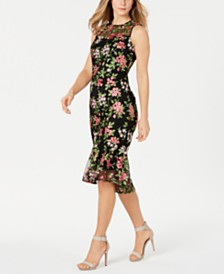 Calvin Klein Petite Floral Lace Midi Dress