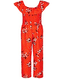 Big Girls Smocked Printed Jumpsuit
