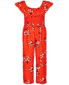 Sequin Hearts Big Girls Smocked Printed Jumpsuit