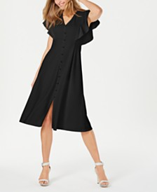 Calvin Klein Button-Front Midi Dress