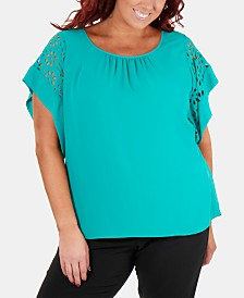 NY Collection Plus Size Dolman-Sleeve Laser-Cut Top