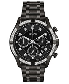 Men's Chronograph Diamond-Accent Black Stainless Steel Bracelet Watch 42mm, Created For Macy's