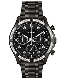 Bulova Men's Chronograph Diamond-Accent Black Stainless Steel Bracelet Watch 42mm, Created For Macy's