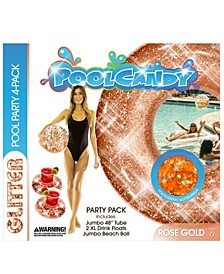 "Pool Candy Glitter Pool Party 4 Pack- 1 - 48"" Tube, 2 - drink floats and 1 - Beach Ball- Rose Gold"