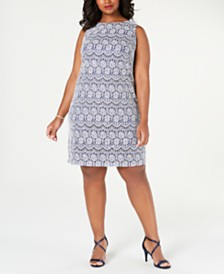 Jessica Howard Plus Size Sleeveless Lace Shift Dress