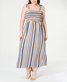 Plus Size Smocked Striped Maxi Dress
