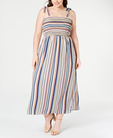 Monteau Plus Size Smocked Striped Maxi Dress