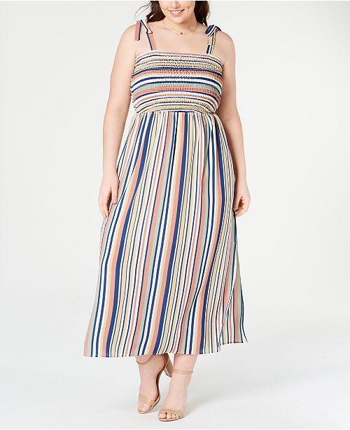 Monteau Plus Size Smocked Striped Maxi Dress