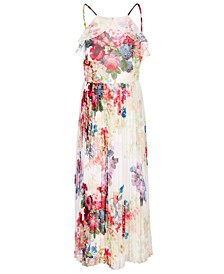Big Girls Floral-Print Pleated Chiffon Dress