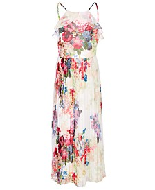 Bonnie Jean Big Girls Floral-Print Pleated Chiffon Dress