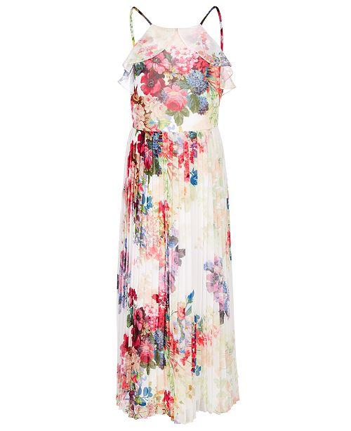 Bonnie Jean Big Girls Floral-Print Pleated Chiffon Dress