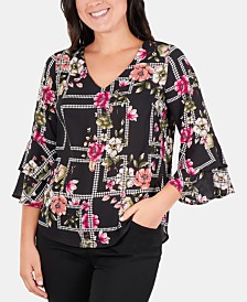 NY Collection Petite Printed Bell-Sleeve Top