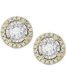 EFFY® Diamond Halo Stud Earrings (1/2 ct. t.w.) in 14k Gold & 14k White Gold