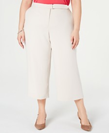 Alfani Plus Size Wide-Leg Belt-Tab Pants, Created for Macy's