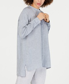 Eileen Fisher Organic Linen Mandarin-Collar Shirt, Regular & Petite