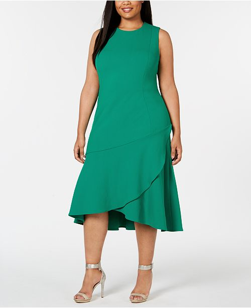 Calvin Klein Plus Size Layered Flounce-Hem Sheath Dress