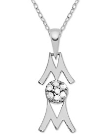 "Diamond Mom 18"" Pendant Necklace (1/10 ct. t.w.) in Sterling Silver"