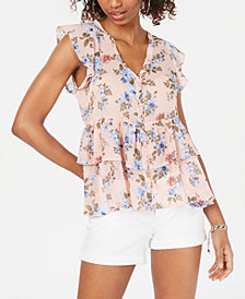 Crave Fame Juniors' Printed Tiered Button-Front Top