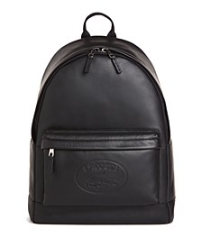 Men's Embossed Lettering Leather Backpack