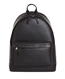 Lacoste Men's Embossed Lettering Leather Backpack