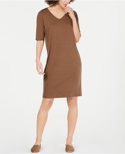 Eileen Fisher V-Neck Elbow-Sleeve Tencel ™ Shift Dress, Regular & Petite