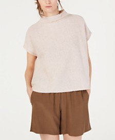 Eileen Fisher Short-Sleeve Funnel-Neck Sweater, Regular & Petite