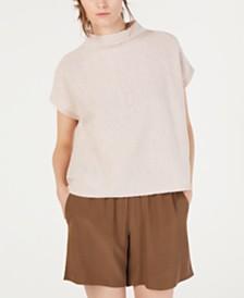 Eileen Fisher Short-Sleeve Funnel-Neck Sweater, Regular & Petite