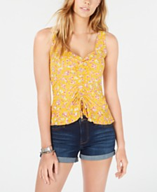 Ultra Flirt Juniors' Printed Ruched-Front Top