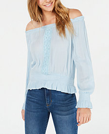 Planet Gold Juniors' Smocked Off-The-Shoulder Top
