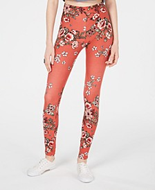 Juniors' Flower-Printed Brushed Jersey Leggings