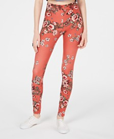 Planet Gold Juniors' Flower-Printed Brushed Jersey Leggings