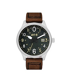 AVI-8 Men's Japanese Quartz Hawker Hurricane Altimeter Edition Brown Leather Strap Watch 43mm