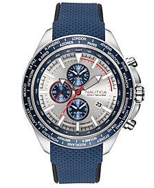Men's NAPOBP902 Ocean Beach Chrono Navy/Silver Silicone Strap Watch