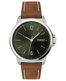 Men's #Lead Brown Leather Strap Watch 42mm