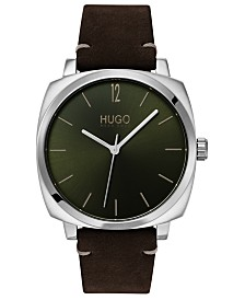 HUGO Men's #Own Brown Leather Strap Watch 40mm