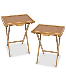 Lipper International Lipped Snack Tables, Set of 2