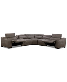 Ruthin 6-Pc. Leather Sectional Sofa with 2 Power Recliners & USB Console