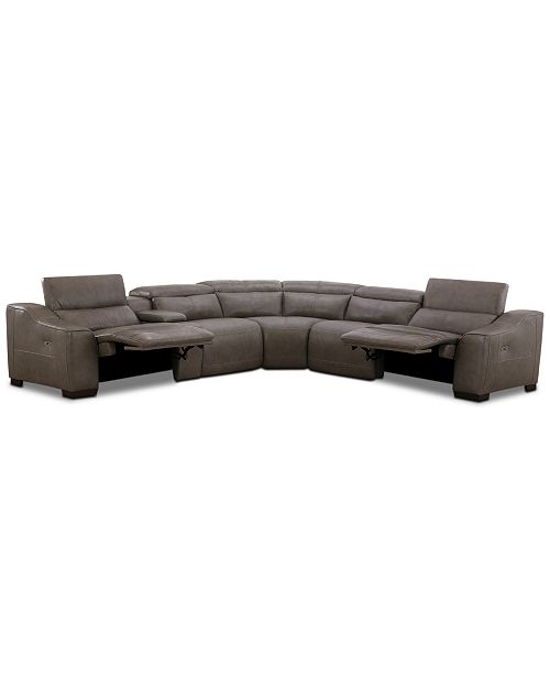 Furniture CLOSEOUT! Ruthin 6-Pc. Leather Sectional Sofa with 2 Power Recliners & USB Console
