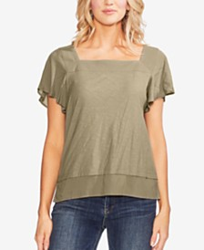 Vince Camuto Square-Neck Layered Top
