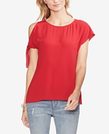 Vince Camuto Cold-Shoulder Tie-Sleeve Top
