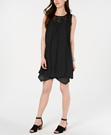 Style & Co Lace-Yoke Handkerchief-Hem A-Line Dress, Created for Macy's