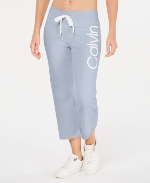 Calvin Klein Performance Logo Cropped Sweatpants In Waterfall